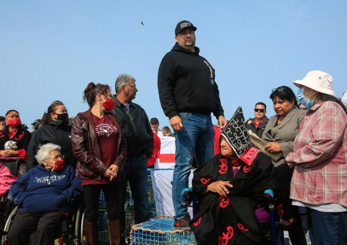 Sipeken's head Mike Sack speaks as the band marked the beginning of their moderate livelihood fishery on Canada's east coast last year.