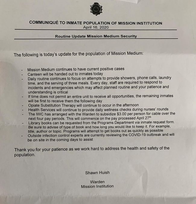 A memorandum to the inmates of Shawn Huish, director of Mission Institution, dated April 16, details prison attempts to cope with a coronavirus epidemic.
