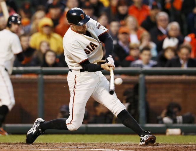 NLCS: Hunter Pence of the San Francisco Giants hit the ball three times on a single pitch, slow-motion cameras show | The Star