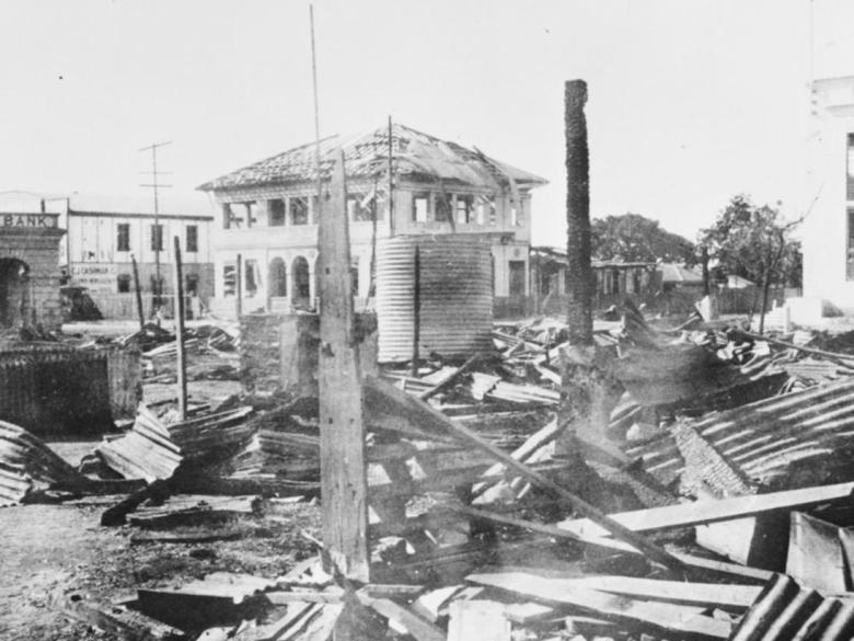 Devastation in Darwin after the bombing raid. Picture: Supplied
