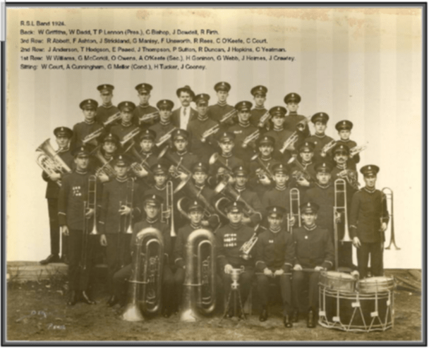 RSL Band in 1924, with Charles Court far right in third row.