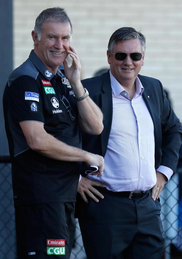 Geoff Walsh with club president Eddie McGuire.