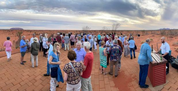 Drinks before the Sound of Silence dinner, with Uluru in the distance.