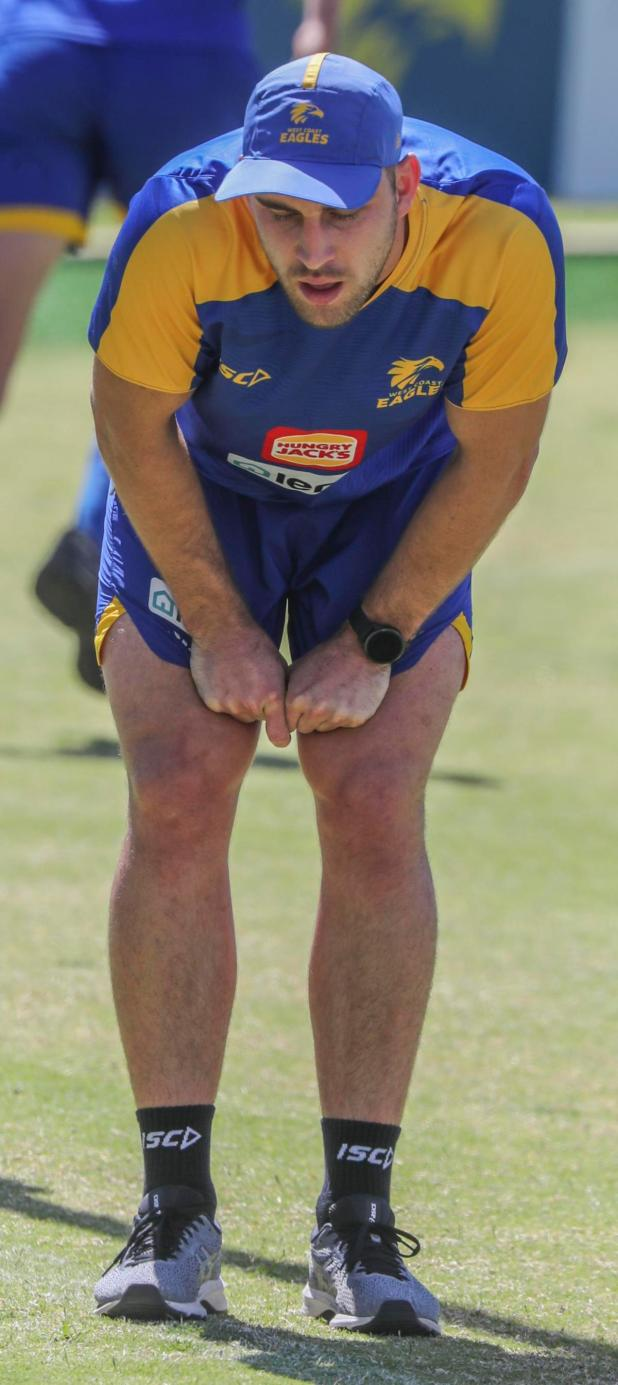Elliot Yeo catches his breath at West Coast training.