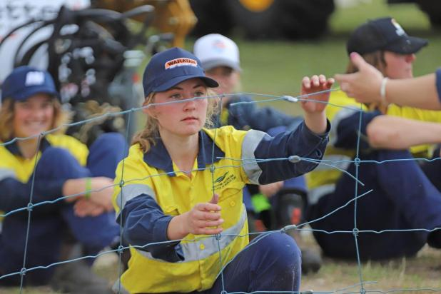 WA College of Agriculture - Morawa Year 11 student Hannah Husbands, 17, takes part in the Elders/Waratah Fencing Competition in 2019