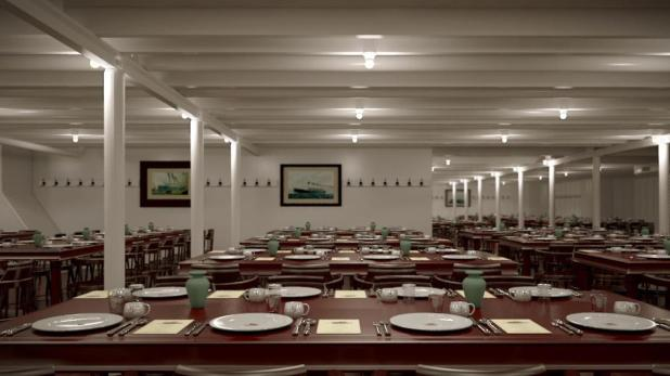 The third-class dining room.