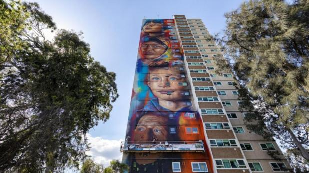 An inner Melbourne housing estate is now home to the tallest mural in the southern hemisphere.