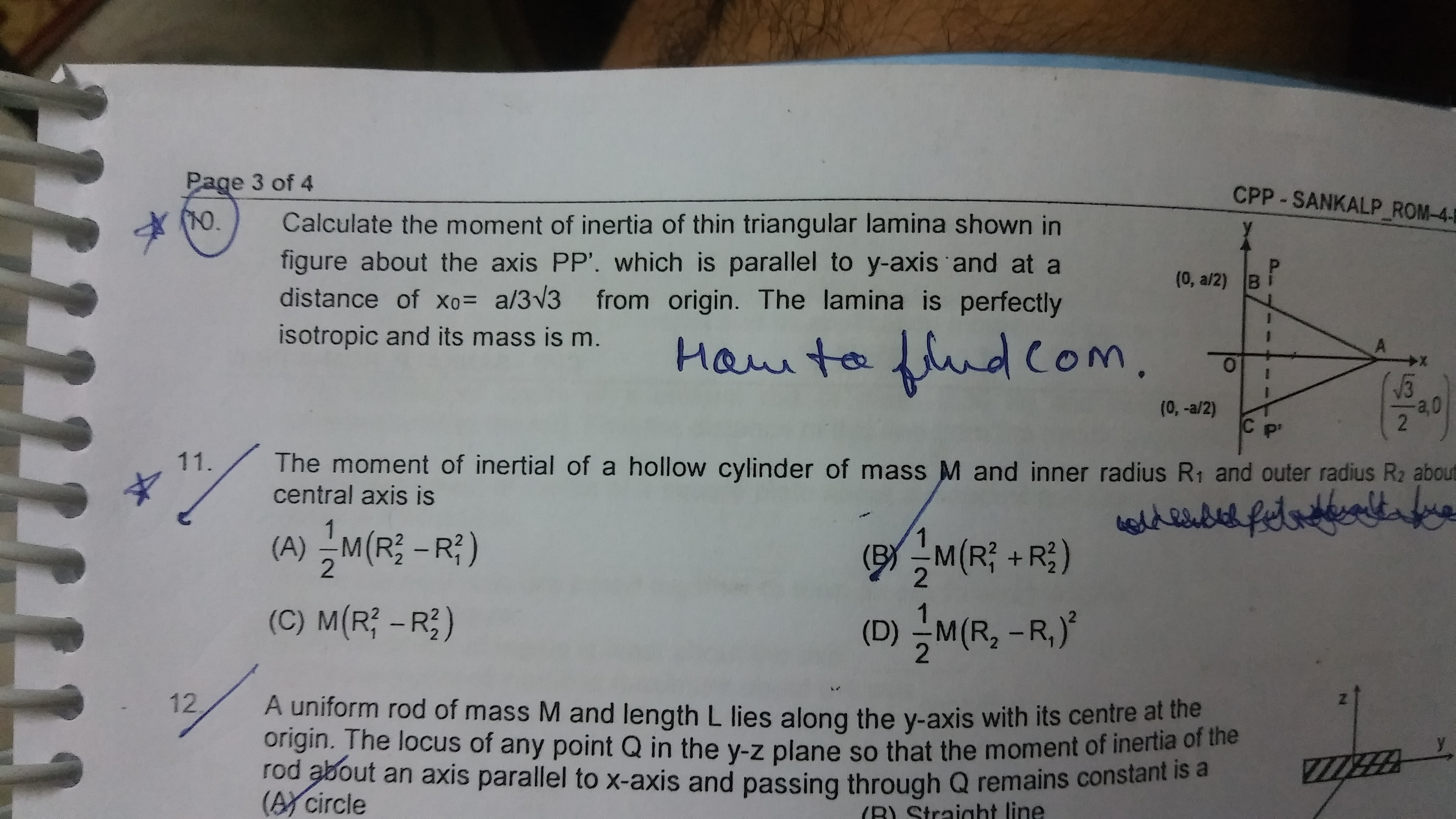 The Moment Of Inertia Of A Hollow Sphere Of Mass M Having Internal And External Radii R And 2r