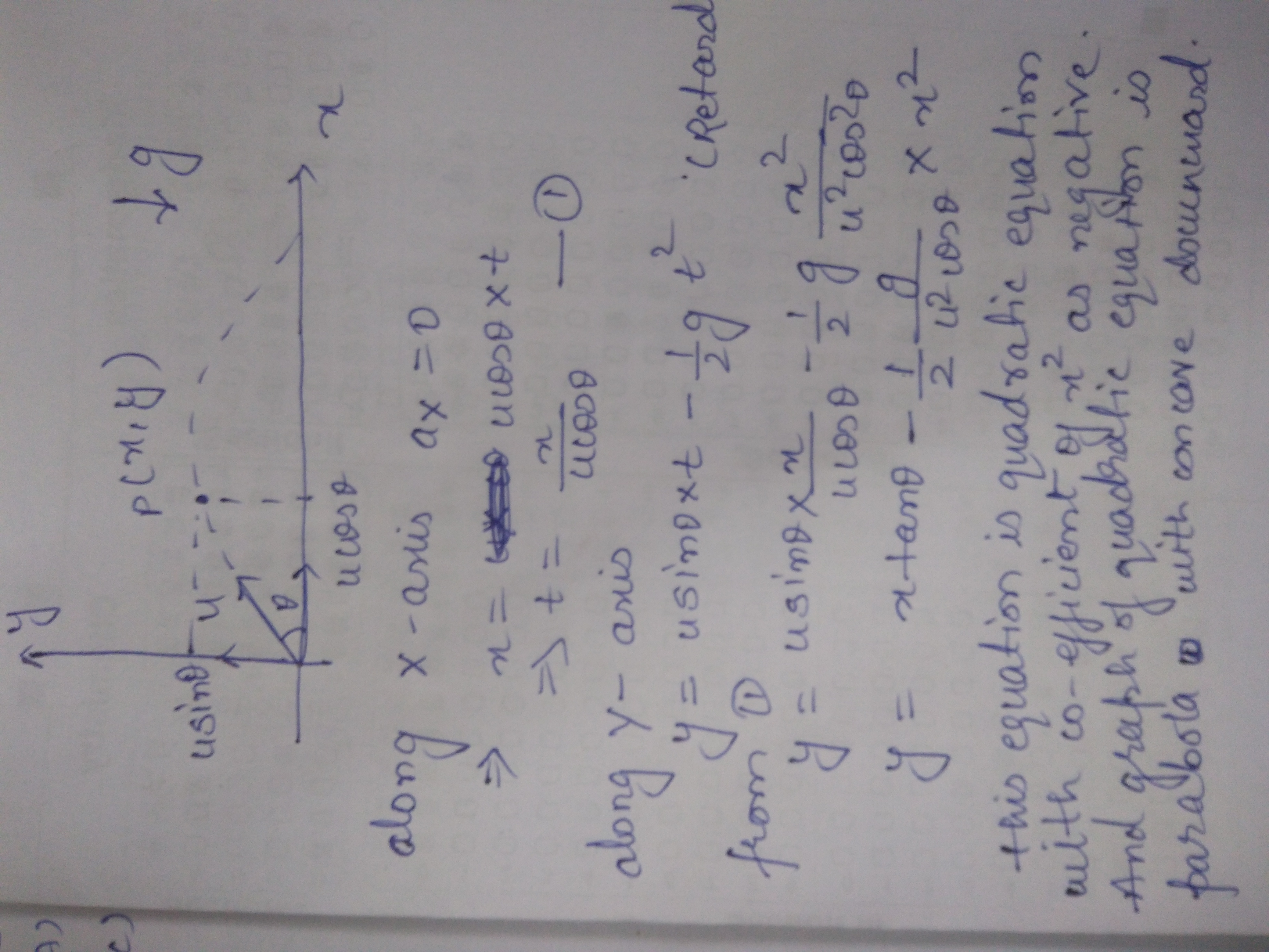 Prove That The Path Of An Oblique Projectile Is Parabola