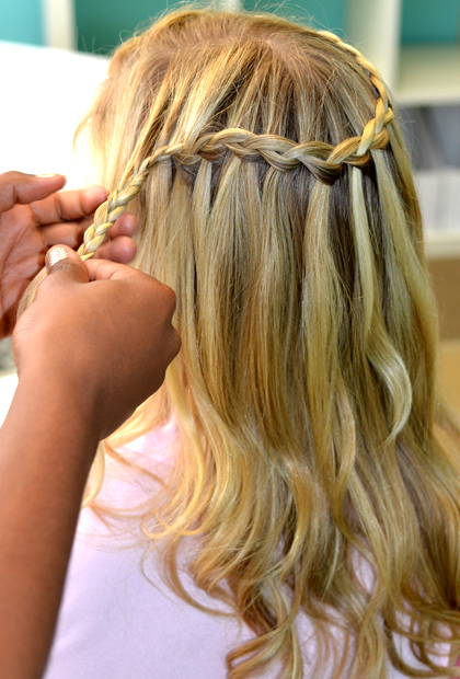 How to Do a Waterfall Braid: Secure and finish