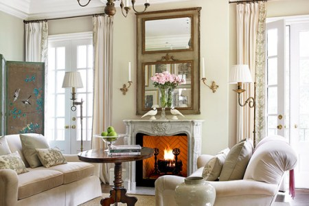 Decorating Ideas  Elegant Living Rooms   Traditional Home Cozy Repose in the Living Room