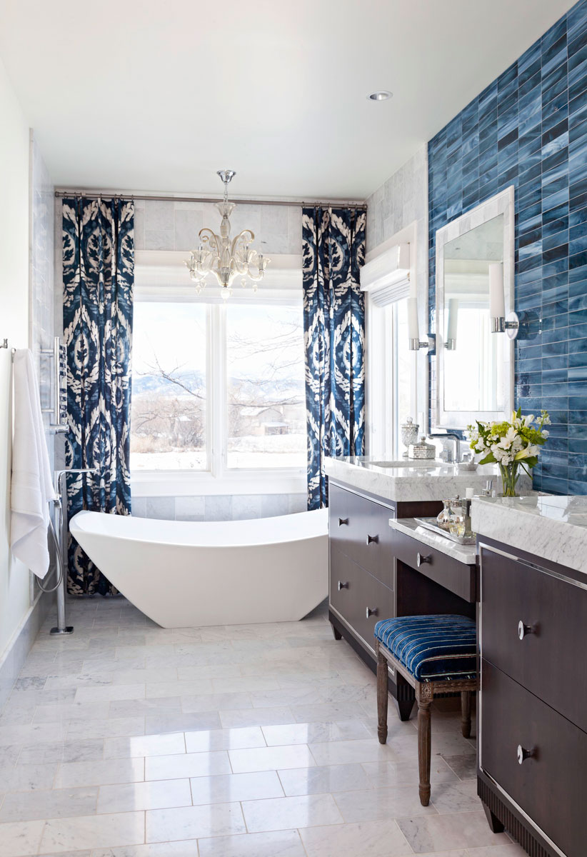 Decorating Ideas for Blue and White Bathrooms   Traditional Home   ENLARGE