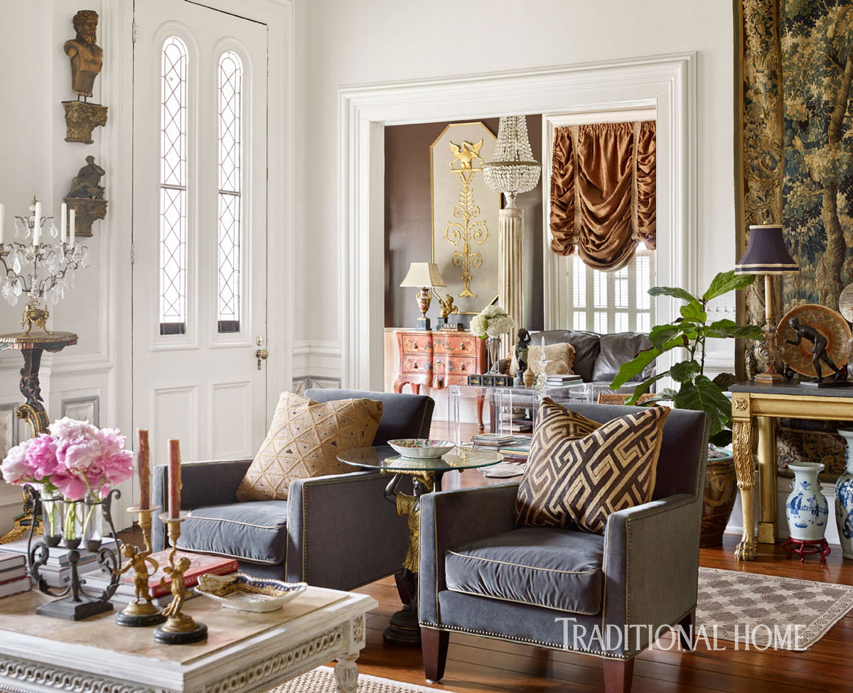 traditional home magazine dining rooms. Above You Can See Aftican Kuba Cloth On The Pillows And A 17th Century Belgian Tapestry Hanging In Background. Traditional Home Magazine Dining Rooms G