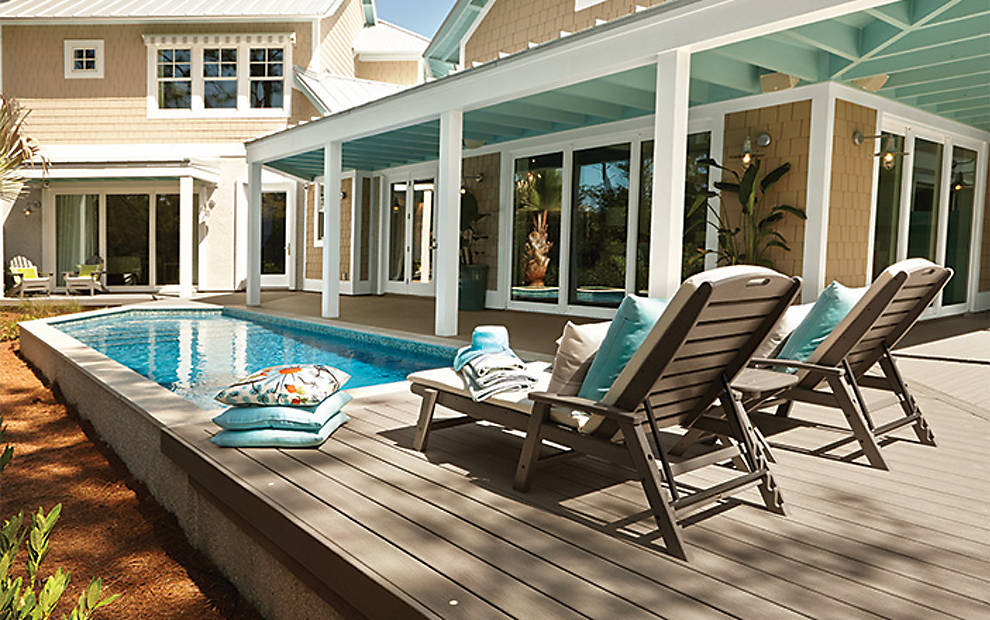 Pool Decks | Above Ground Pool Deck Ideas & Pictures | Trex on Pool Deck Patio Ideas  id=83559