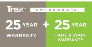 Trex offers a 25-Year Limited Residential Warranty plus a 25-Year Limited Residential Warranty Against Fading and Staining on several decking products.