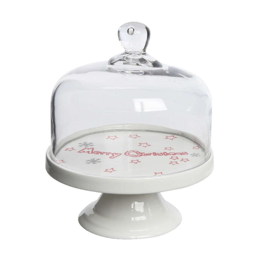 support a gateau en porcelaine avec cloche en verre o 17 5 x h 20 cm