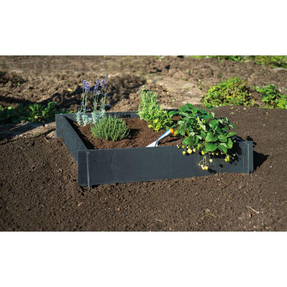carre potager en pvc recycle noir l 100 x l 100 x h 19 cm truffaut
