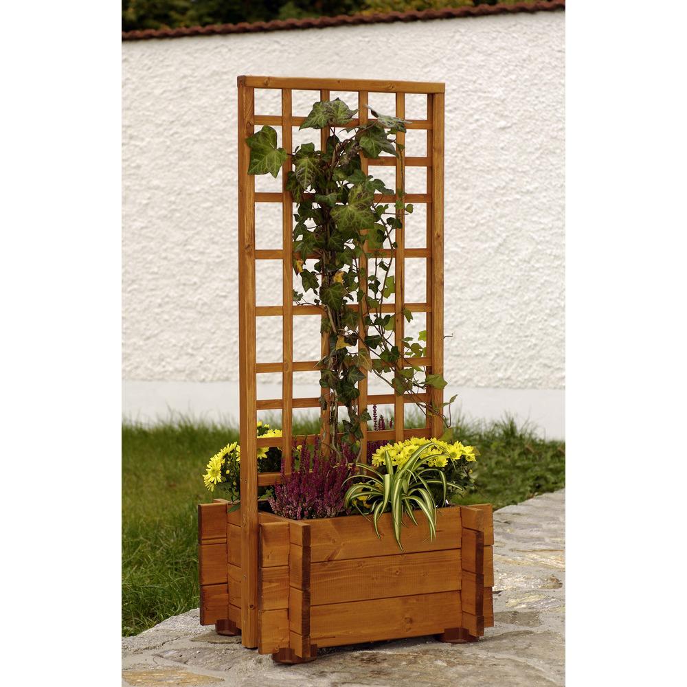 jardiniere avec treillis hofgarten en bois l 55 x l 46 x h 120 cm