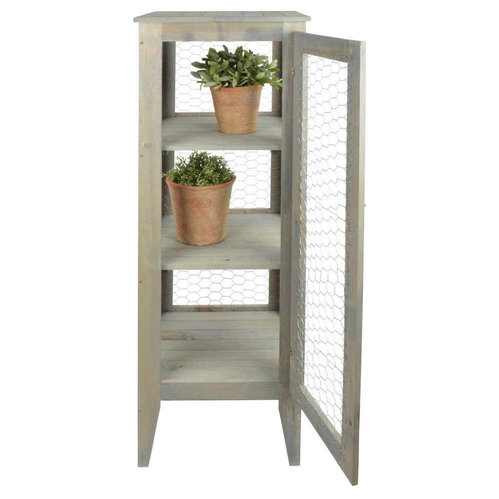 armoire de jardin en bois et metal l 38 2 x 38 2 x h 118 cm