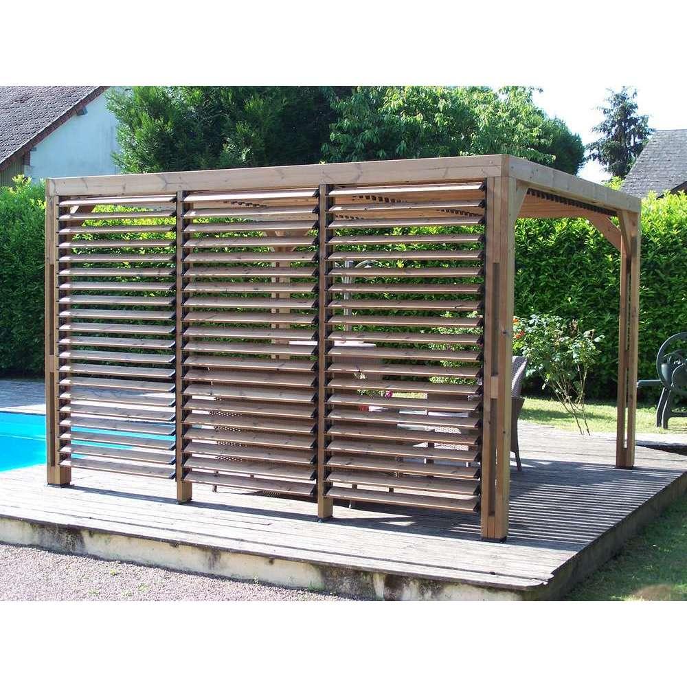 pergola bois massif traite 3 41x3 13m avec brise vue laterale et toit