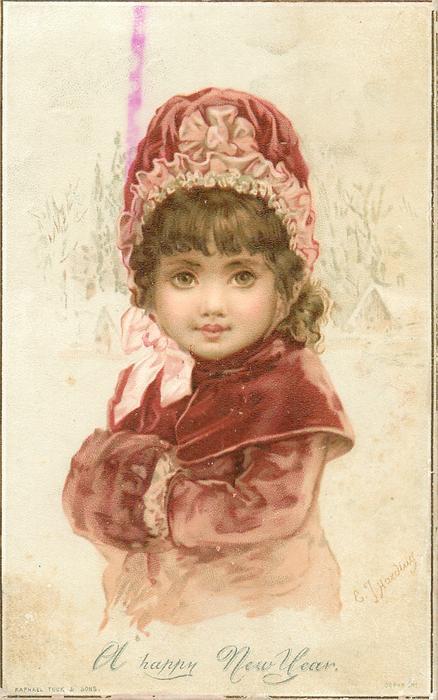 Girl In Red Coat Cape Hat And Muff TuckDB Ephemera