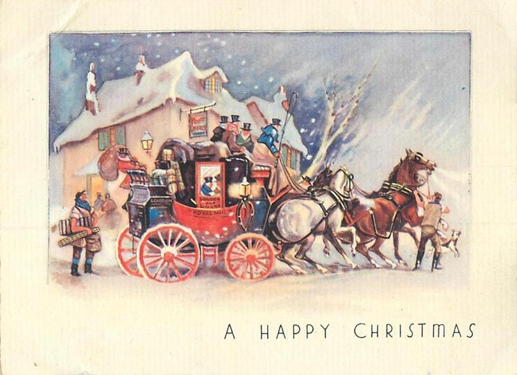 A HAPPY CHRISTMAS ROYAL MAIL Stagecoach Faces Right