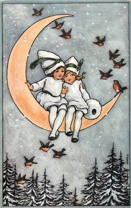 Two Children In White Snow Suits Sit On The Moon Robbins