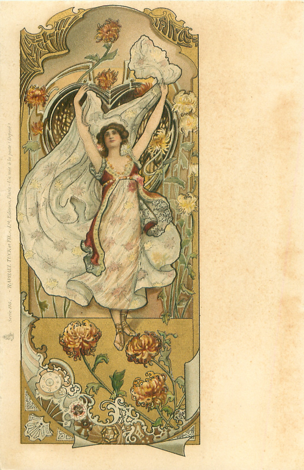Woman Wearing White Dress With Stars Both Arms Above Her
