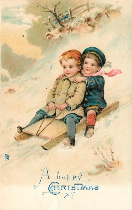 A HAPPY CHRISTMAS 2 Children Sledding Down Hill TuckDB