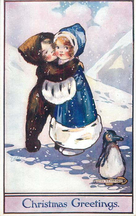 CHRISTMAS GREETINGS Two Girls Embrace In Snow Penguin