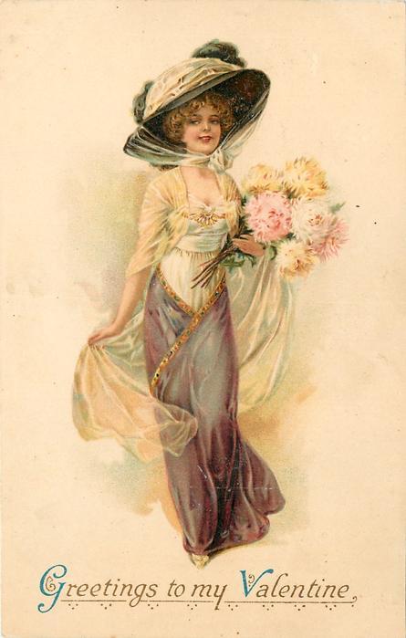 GREETINGS TO MY VALENTINE Elegant Lady Walks Front