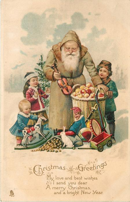 CHRISTMAS GREETINGS Olive Coated Santa Holding Small