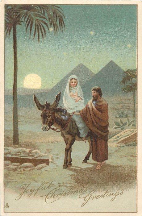 JOYFUL CHRISTMAS GREETINGS Jesus Amp Mary Ride Donkey In