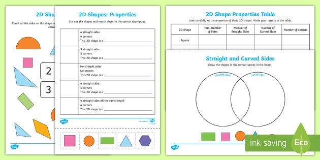 Properties Of 2d Shapes Activity Sheets