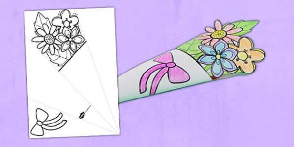 Mother's Day Paper Flower Bouquet Colouring Activity - bouquet