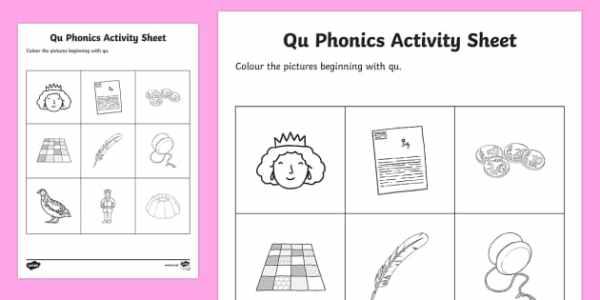 qu Phonics Colouring Activity Sheet - Republic of Ireland