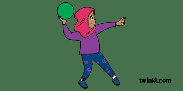 Ha sfidato il regime sventolando un velo bianco. Bambino Giocando Dodgeball Indossando Un Hijab Persona Ragazza Diversita