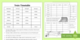 Train Timetable Differentiated Worksheets