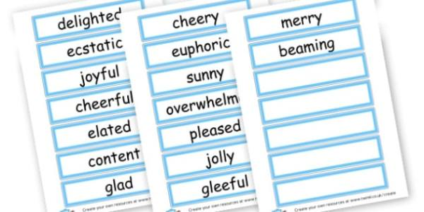 Happy Synonym Word Cards - Synonyms & Antonyms Primary ...