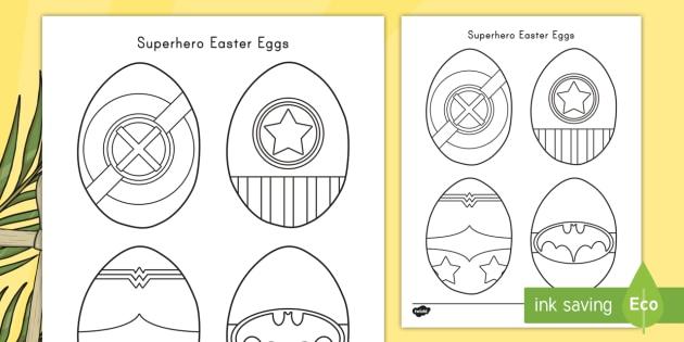 Superhero Easter Eggs Coloring Sheets Teacher Made