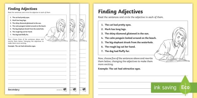 Ks3 Sen Finding Adjectives Differentiated Worksheet
