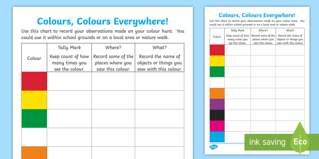 Colours Colours Everywhere Outdoor Worksheet Worksheet