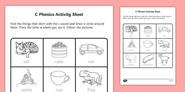 C Phonics Worksheet Worksheet Irish Worksheet