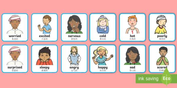 Feelings and Emotions Cards English/Mandarin Chinese