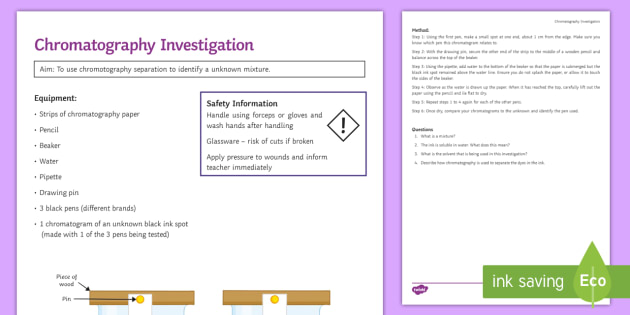 Chromatography Investigation Instruction Sheet Print Out
