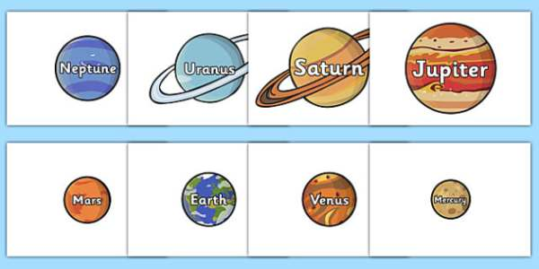 The Planet Names Words on Planets plant space space