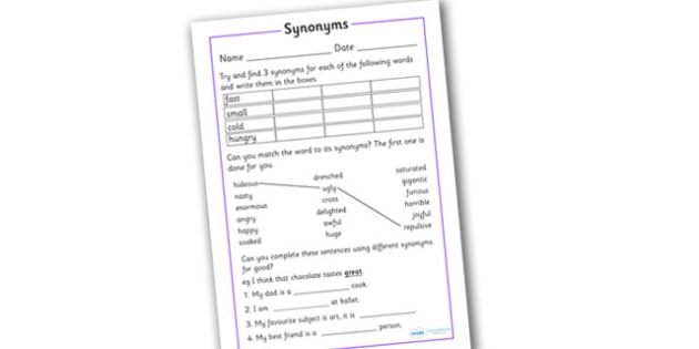 Synonym Activity Worksheet
