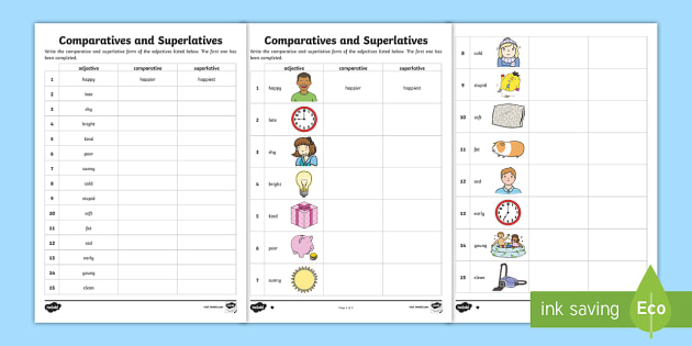 Comparatives And Superlatives Worksheet
