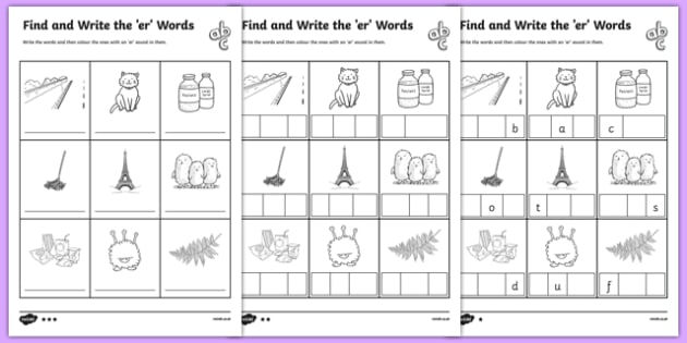 Find And Write The Er Words Differentiated Worksheet