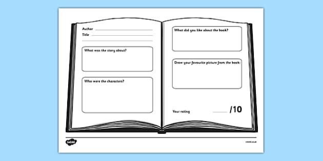 Book Review Worksheet Teacher Made